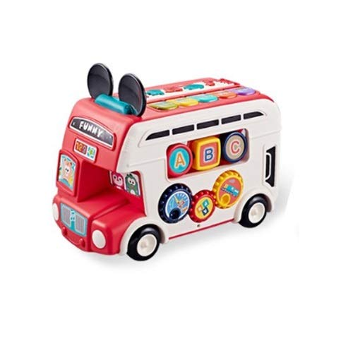 Lihgfw Jungen, Mädchen, Busse, Busse, Baby Pädagogische Spielzeugautos, Spielzeugauto-Modelle, Babyspielzeug, Sound und leichte Musik, Ziehen Sie Autos, Kinder Geschenke, Spielzeugautos rot 28cm