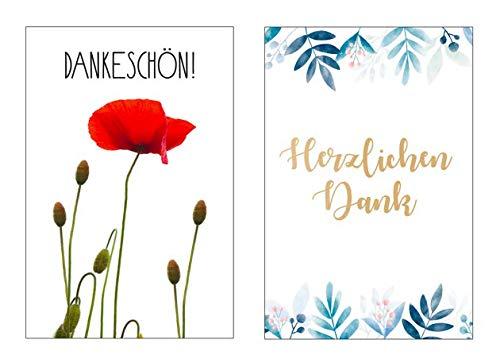 6 Stück (2x3) Premium Dankeskarten (Klappkarten) mit 6 Umschlägen, Danke, Dankeschön, Karten, Dankekarten, Hochzeit, Geburt, Baby, Taufe, Abschied, Geburtstag, Jubiläum