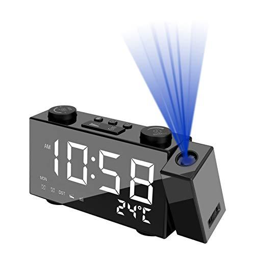 Aceshop Projektionswecker Digitaler LED-Wecker mit Zeit und Temperaturanzeige, Snooze-Funktion, FM Radio, Dual-Alarmen, 4 Stufen Einstellbare Helligkeit, 180° Projektionsanzeige für Schlafzimmer, Büro