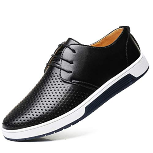 Leobtain Men Casual PU Fashion Shoes Breathable Loafers Lace-up Flat Sneakers for Office Vintage Work Dress