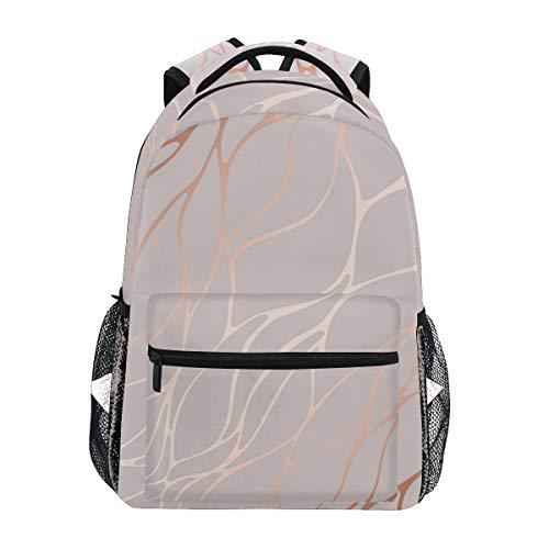 Rose Gold Marble School Backpack for Teen Boys Girls Stone Student Bookbag Travel Laptop Daypack Kids Book Bags School Bag
