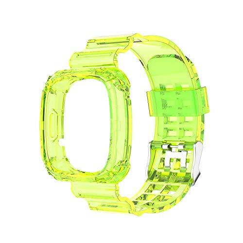 WE-WHLL Reemplazo Universal de Silicona Transparente Pulsera Deportiva Correa de Reloj para -Fitbit Versa 3 Sense Pulsera Reloj Inteligente-Amarillo