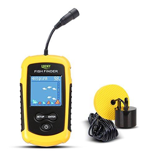 Disfrute de la pesca: 5 opciones de sensibilidad de modos; modo de ahorro de batería; modo de retroiluminación; alarma de peces; unidad de opciones de medición de profundidad (metro o pies). La herramienta especial y útil está diseñado para los amant...