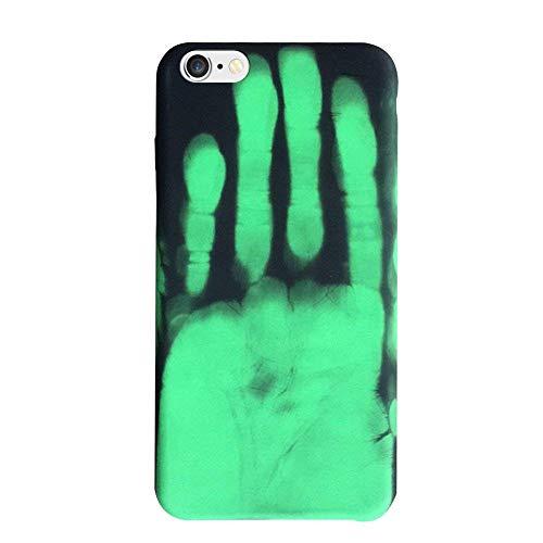 Felfy Cover iPhone 6S,Custodia iPhone 6 Morbido Silicone,Cover iPhone 6S Verde Handprint Pattern Heat Induction Creative Design Temperature Change Colore Case