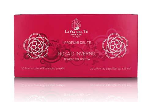 La Via del Te Mezcla de Té Verde Bancha con Té Negro de Rosas Rosa de Invierno - 20 Bolsitas, Peso Neto 50gr