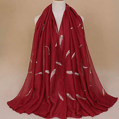 ZHUJ Invierno Bufanda Bufanda Punto Hombre Mujer Mantón Bordado Mujer Dama-8# Rojo Vino Brillante_180M