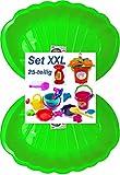 Sandbox Sandkasten Sandmuschel Muschel Wasser Planschbecken groß 108x79cm XL, 5 Farben! (2xgrün+25-TLG.Set)