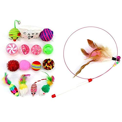 MAOJIU 16Pcs Cat Toy Set Including Teaser Wand Sisal Ball Mouse Cat Playing Toys Pet Chewing Toys Cat Toys Interactive Cat Toy, The Best Entertainment Exercise Gift for Your Kitty,Random Color 1pc