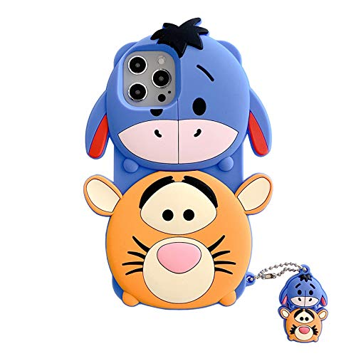 Ultra Thick Soft Silicone Cases for Apple iPhone 12 Mini 12Mini with Charm Winnie The Pooh Tigger Eeyore Tiger Donkey 3D Walt Disney Cartoon Tsum Tsum Cute Lovely Fun Girls Kids Teens Daughter