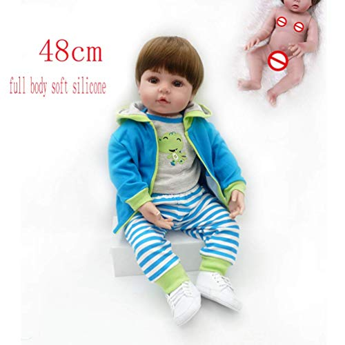 AMITD 48cm Reborn Handmade Baby Doll,full Body Soft Vinyl Silicone Lifelike Doll Toy Real Looking Doll for Kids Great Gift (F)