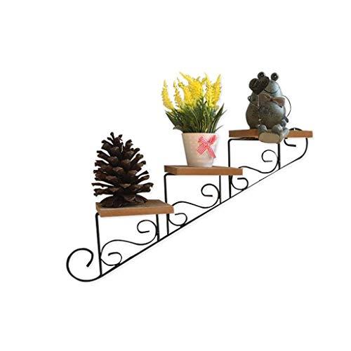 LBBGM Soporte para Plantas de Hierro Forjado Escalera de Flores de 3 Niveles Estantes para macetas de Pared Exhibición de jardín Interior al Aire Libre (Color: A)