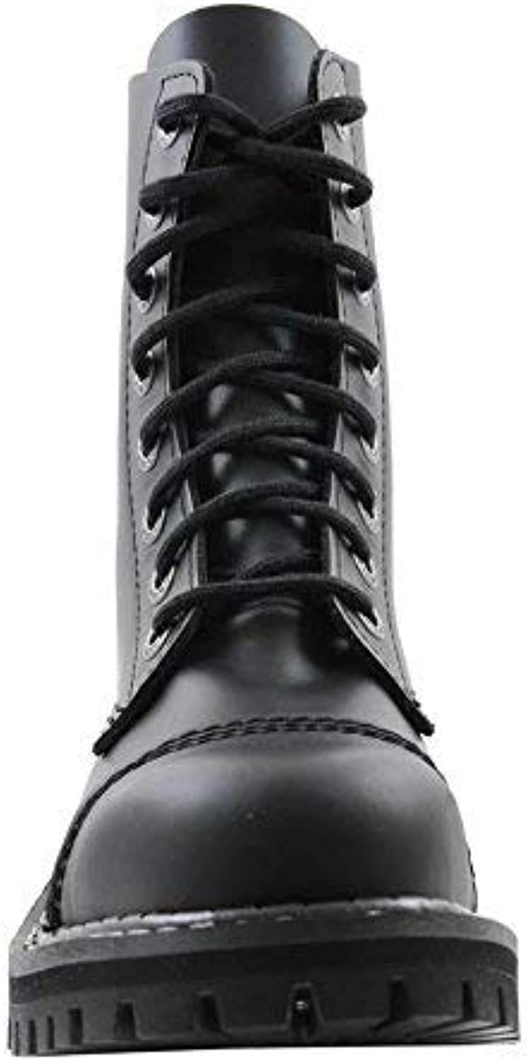 Angry Itch 8 Hole Gothic Punk Black Leather Army Ranger Boots With Steel Toe
