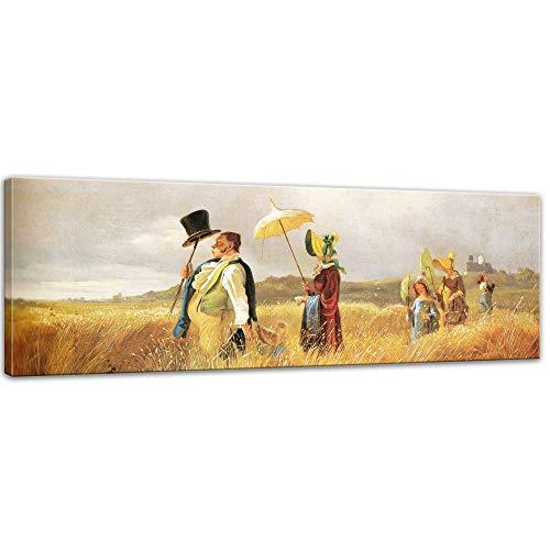 Keilrahmenbild Carl Spitzweg Sonntagsspaziergang - 120x40cm Panorama quer - Alte Meister Berühmte Gemälde Leinwandbild Kunstdruck Bild auf Leinwand