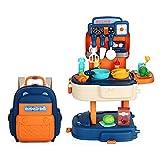 Kinder Spielküche | 2-in-1'My Little Chef' Küchen Spielset Rucksack | Tragbare Miniatur Kinder Rollenspiel Küchenset | Küchenspielzeug Geschenk Für Jungen Mädchen