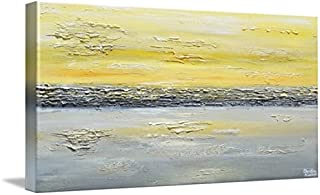 Imagekind Wall Art Print Entitled Coastal Reflections Yellow Grey Abstract by Christine Krainock | 32 x 16