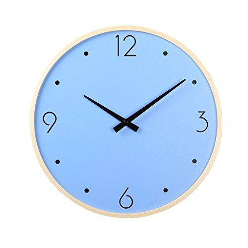 Horloges en Bois Murale Rond et Montres Moderne Style Convient pour Le Salon et la Chambre Muet Silencieux (Color : Blue, Size : 36cm (14inch))