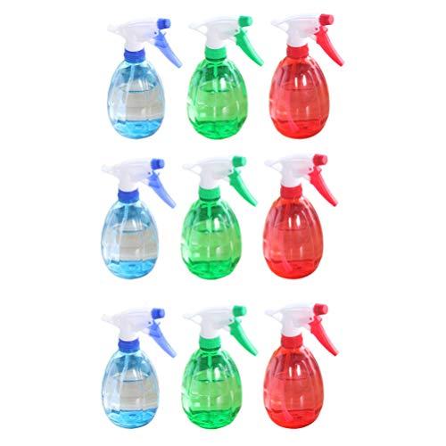 Minkissy 9Pcs Bouteilles de Pulvérisation en Plastique Vides Pulvérisateur Rechargeable pour Salon Cuisine Jardin (Rouge Vert Bleu)