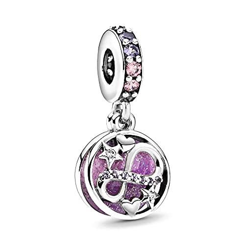 Pandora 925 colgante de plata esterlina DIY auténtico brillante infinito corazones estrellas colgante de cuentas Fit Charm pulseras Wo n joyería
