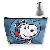 Neceser de maquillaje con bolsa de cosmética de Snoopy y Woodstock en el espacio, bolsa de almacenamiento trapezoidal, multifuncional, organizador de kit de viaje