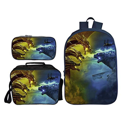 16-inch Children's Backpack 3 Piece Suit Backpacks + Lunch Bag + Pencil Case 3D Monster Pattern Primary School Bag Computer Package -excellent Gift -Girls Boy
