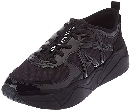 Armani Exchange Running, Zapatillas Mujer, Black, 38 EU