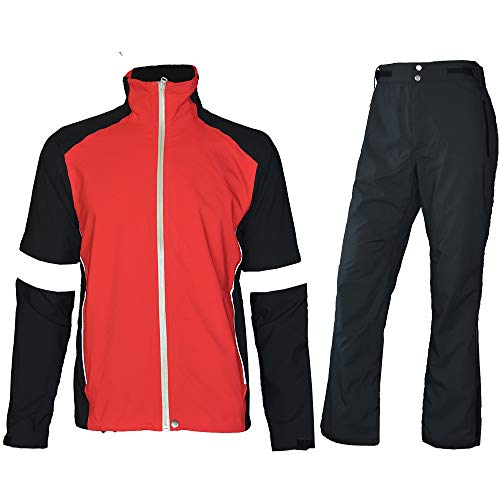 Waterproof Golf Rain Suits for Men Performance Rain Jackets and Pants for All Sports (Red Full-zip, XX-Large)