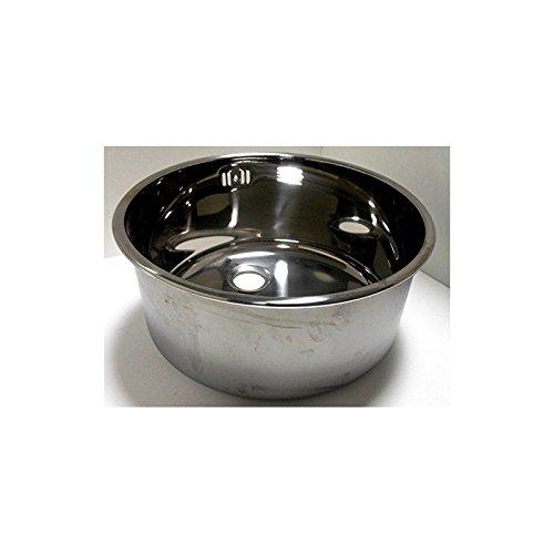Fimel lavello Tondo ad Incasso Inox con Bordo da appoggio e piletta di Scarico Diametro 300 mm h. 180 mm