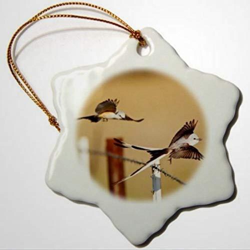 BYRON HOYLE Par de atrapasuecos de cola de tijera de pájaros volando por valla de alambre de púas, adorno de copo de nieve, decoración pandémica de Navidad, adorno de boda, regalo de vacaciones