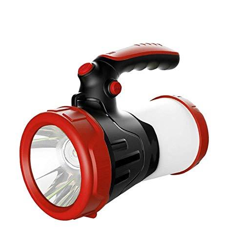 6000 mAh potente linterna de camping, multifuncional portátil LED, luz de caza impermeable, con 4 modos de iluminación, para exteriores, camping Alysays (color: rojo)