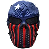 PuddingStation Full Face Airsoft Mask, for Masquerade Halloween Cosplay, Movie Props (Captain)