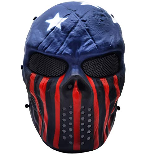 Full Face Airsoft Mask with Metal Mesh Eye Protection, for Tactical CS Survival Games, Paintball BBS Shooting, Masquerade Halloween Cosplay, Movie Props, Zombie Scary Skeleton Masks Captain