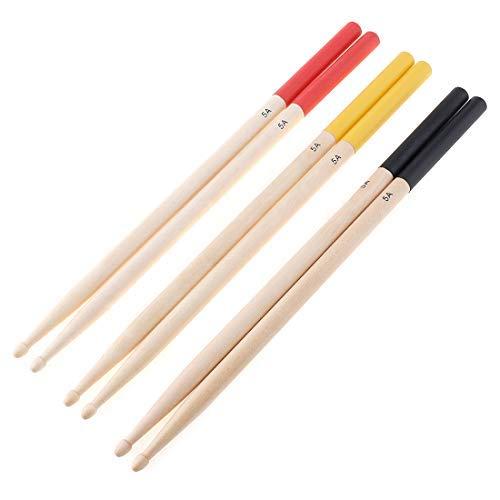Origlam - Baquetas 5A de madera de arce, baquetas antideslizantes, punta de madera de arce 5A, para niños, estudiantes y adultos, 2 unidades (rojo)