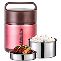 ステンレス魔法瓶漏れ防止デザインフードジャー断熱、箱弁当ハンドル付き折りたたみSpoopサーマルランチコンテナポータブルフラスコランチ真空ボトル (Color : Red, Size : 1.6L)
