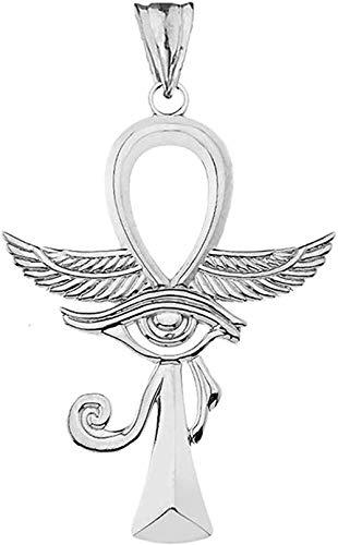 NC66 Deslumbrante Cruz Ankh de Plata de Ley con Colgante Ojo de Horus