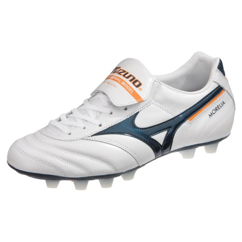 MIZUNO Morelia MD Bota de Fútbol Caballero, Blanco/Azul/Naranja, 46
