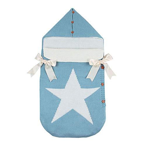 Chenqi Baby Wrap Swaddle - Häkeldecke mit Kapuze Knopfdecke Knit Schlafsack 0-12 Monate Hellblau, ein großer Stern