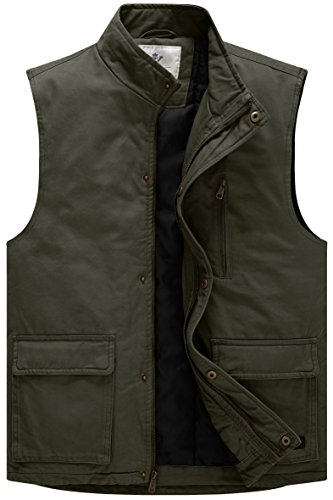 WenVen Men's Lightweight Quilted Cotton Winter Vest(Army Green,Large)