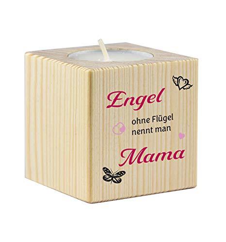 Teelichthalter aus Holz mit dem Druck Engel ohne Flügel nennt Man Mama - als Geschenk zum Muttertag oder zu Weihnachten
