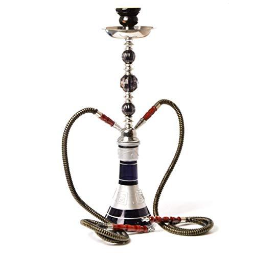 Juego de 2 mangueras Hookah Pipe-Arabian Hookah Set grande doble Hookah-Shisha Smoking Party con dos mangueras Pro Lounge,Negro