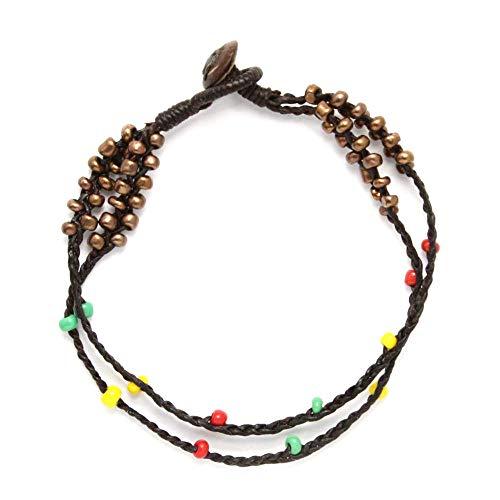 Tobillera hecha a mano hecha a mano de trenzado Idin - de doble hebra cordón encerado multicolor de cuentas de estilo rasta tobillera con (24 cm)