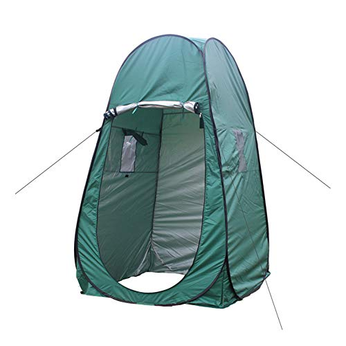 Camping Toilet Tent Pop-Up Shower Privacy Tent for Outdoor Changing Clothes Fishing Bath Storage Room Tent With Window Green