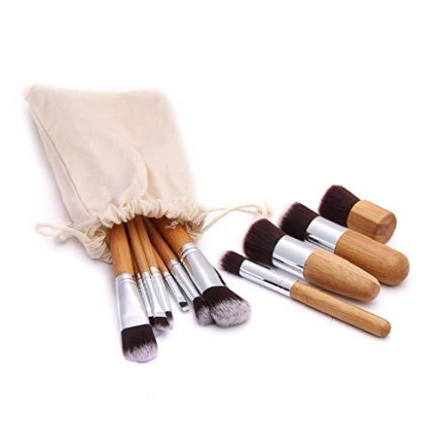 11pcs poignée en bambou professionnel pinceaux de maquillage haut de gamme synthétique Kabuki Fondation Pinceau estompeur liquide poudre cosmétiques outil