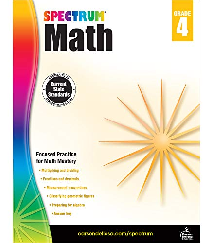 Spectrum Fourth Grade Math Workbook – Multiplication, Division, Fractions, Decimals Mathematics With Examples, Tests, Answer Key for Homeschool or Classroom (160 pgs)