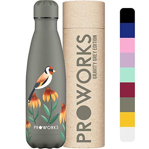 Proworks Botellas de Agua Deportiva de Acero Inoxidable | Cantimplora Termo con Doble Aislamiento para 12 Horas de Bebida Caliente y 24 Horas de Bebida Fría - Libre de BPA - 750ml - Goldfinch