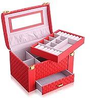 メイクアップトレインケース、プロフェッショナルラージメイクアップオーガナイザーキット、防塵2層化粧品ケース、携帯用レザージュエリー収納ボックス、すべての化粧品に適しています,E