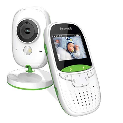 Kabelloser Babyphone Video Monitor von SereneLife- Duales System mit Kamera und Thermometer zur Überwachung des Kinderschlafes und einem 5,1 cm kabellosen Farbbildschirm mit Lautsprecher - SLBCAM10EU