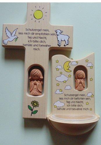 Taufkreuz - Weihwasserkessel Kinderzimmer-Sortiment Holz - Schutzengel mein