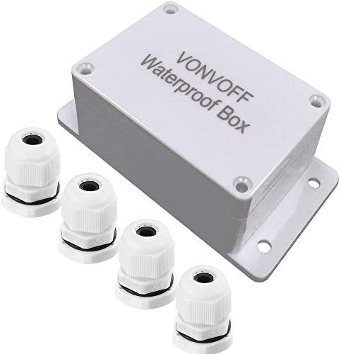 VONVOFF elettrico Scatola di Giunzione,IP65 ABS Plastica Progetto Scatola impermeabile,Custodia fissa universale resistente all'acqua custodia per progetti di elettronica(100x68x50mm)(white)