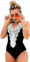 Blooming Jelly Women's Vintage One Piece Swimsuit Lace Tummy Control Halter Swimwear Bathing Suit (Medium, Black 1)