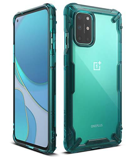 Ringke Fusion-X Kompatibel mit OnePlus 8T Hülle Handyhülle Durchsichtig Rückseite mit Handyanhänger Loch im Rand für 8T / 8T Plus 5G - Turquoise Green